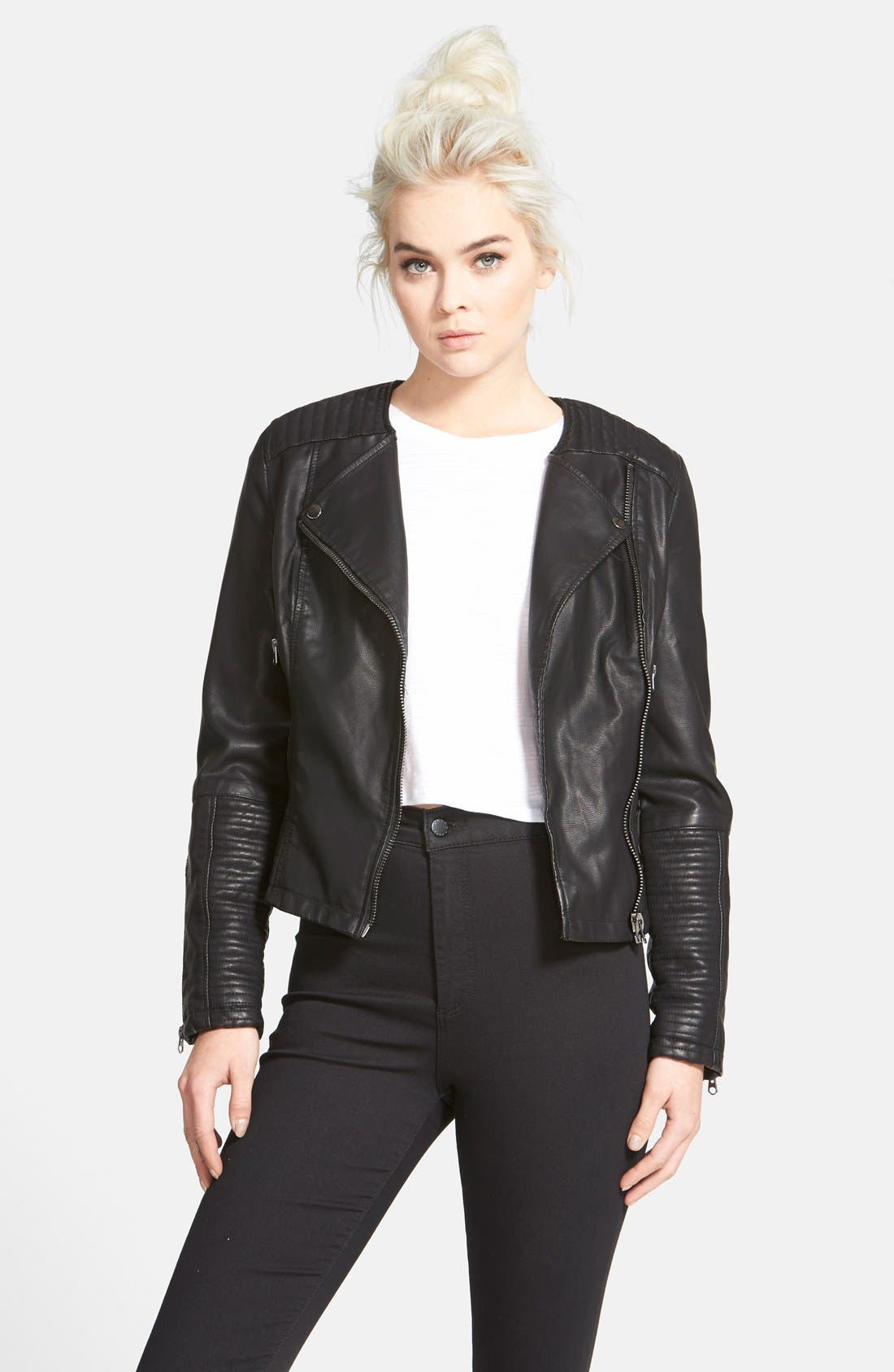 Main Image - Topshop Faux Leather Biker Jacket