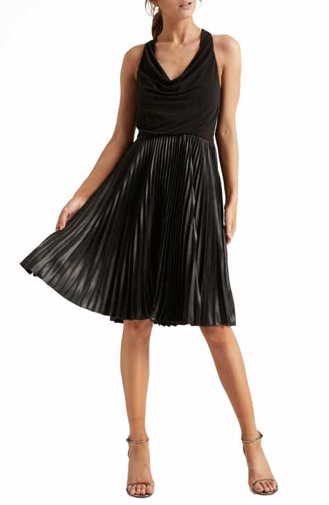 Halston Heritage Pleat Fit & Flare Cocktail Dress