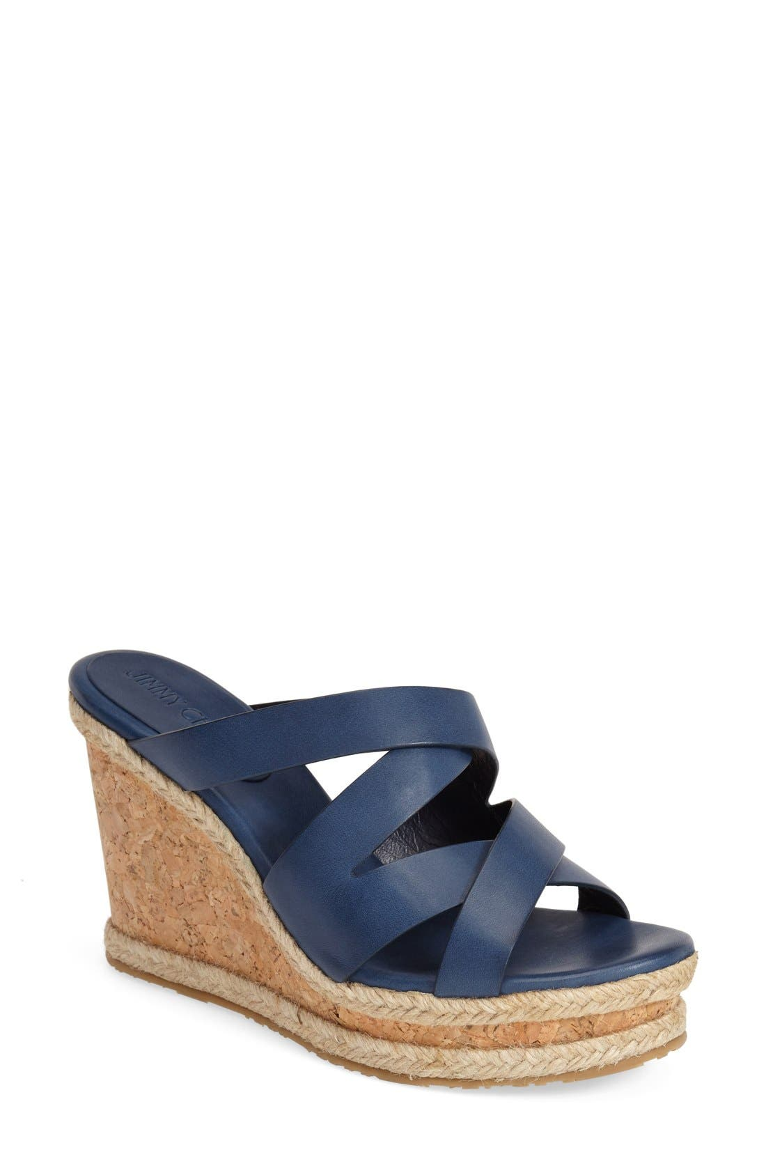 'Prisma' Leather Wedge Sandal,                         Main,                         color, Navy