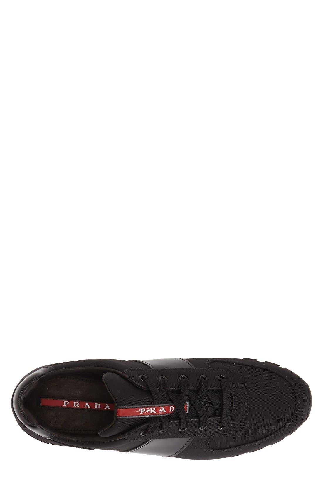 Runner Sneaker,                             Alternate thumbnail 3, color,                             Black Fabric