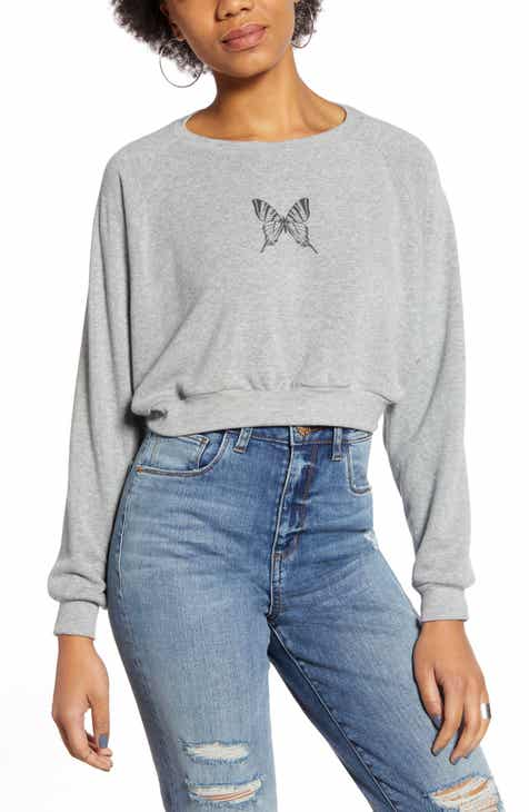 Project Social T Butterfly Crop Sweatshirt