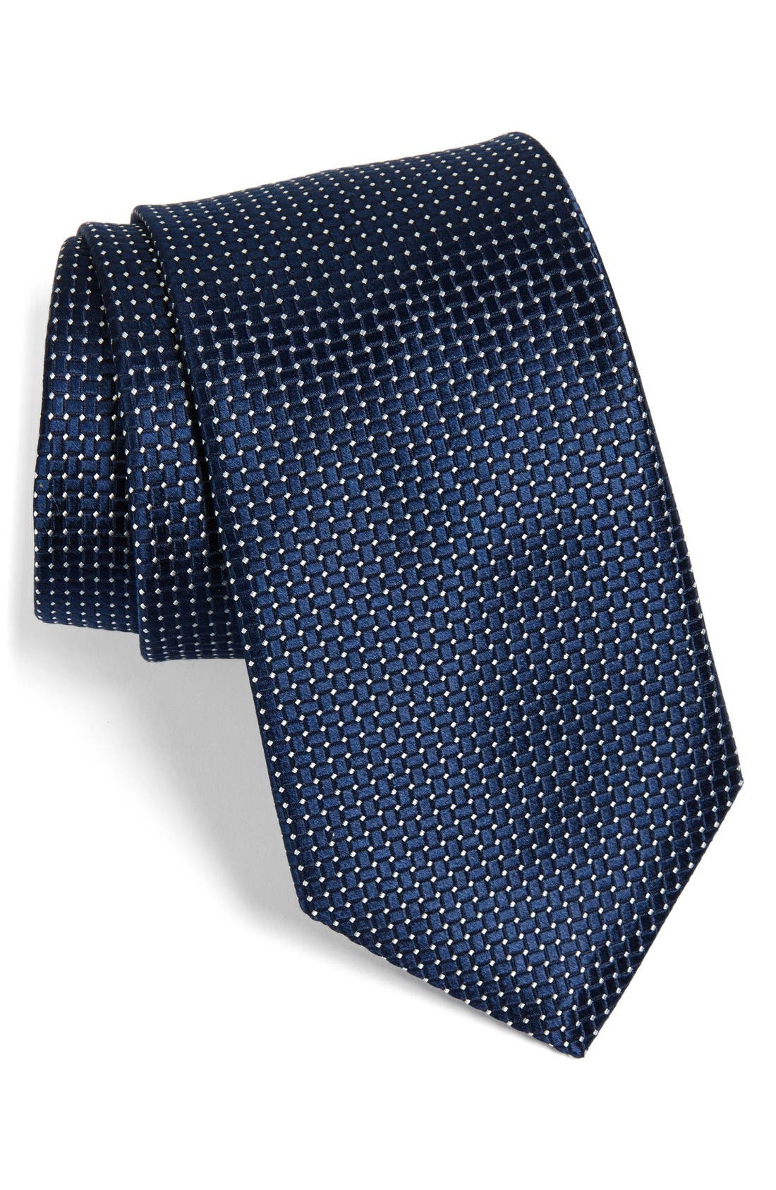 'Small Basket Weave Neat' Woven Silk Tie,                         Main,                         color, Navy