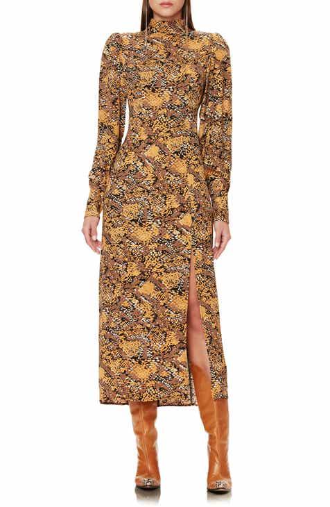 AFRM Bobbie Long Sleeve Mock Neck Midi Dress