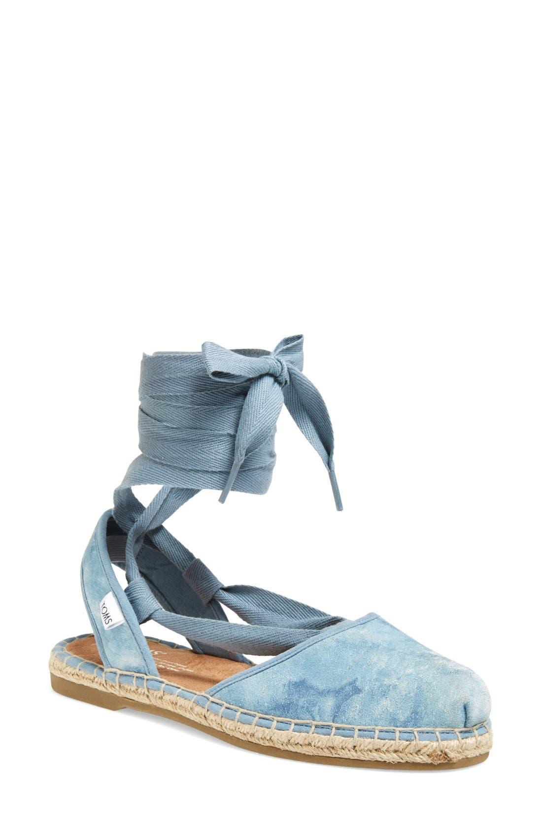 Main Image - TOMS 'Bella' Washed Suede Lace-Up Espadrille Sandal (Women)
