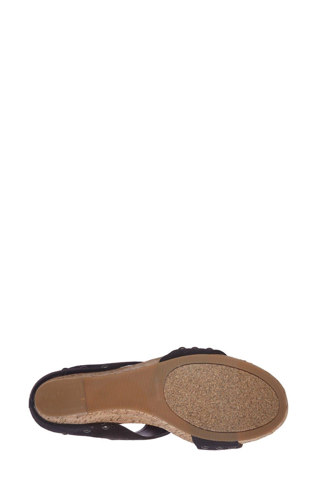 'Emilia 2' Wedge Sandal,                             Alternate thumbnail 4, color,                             Black