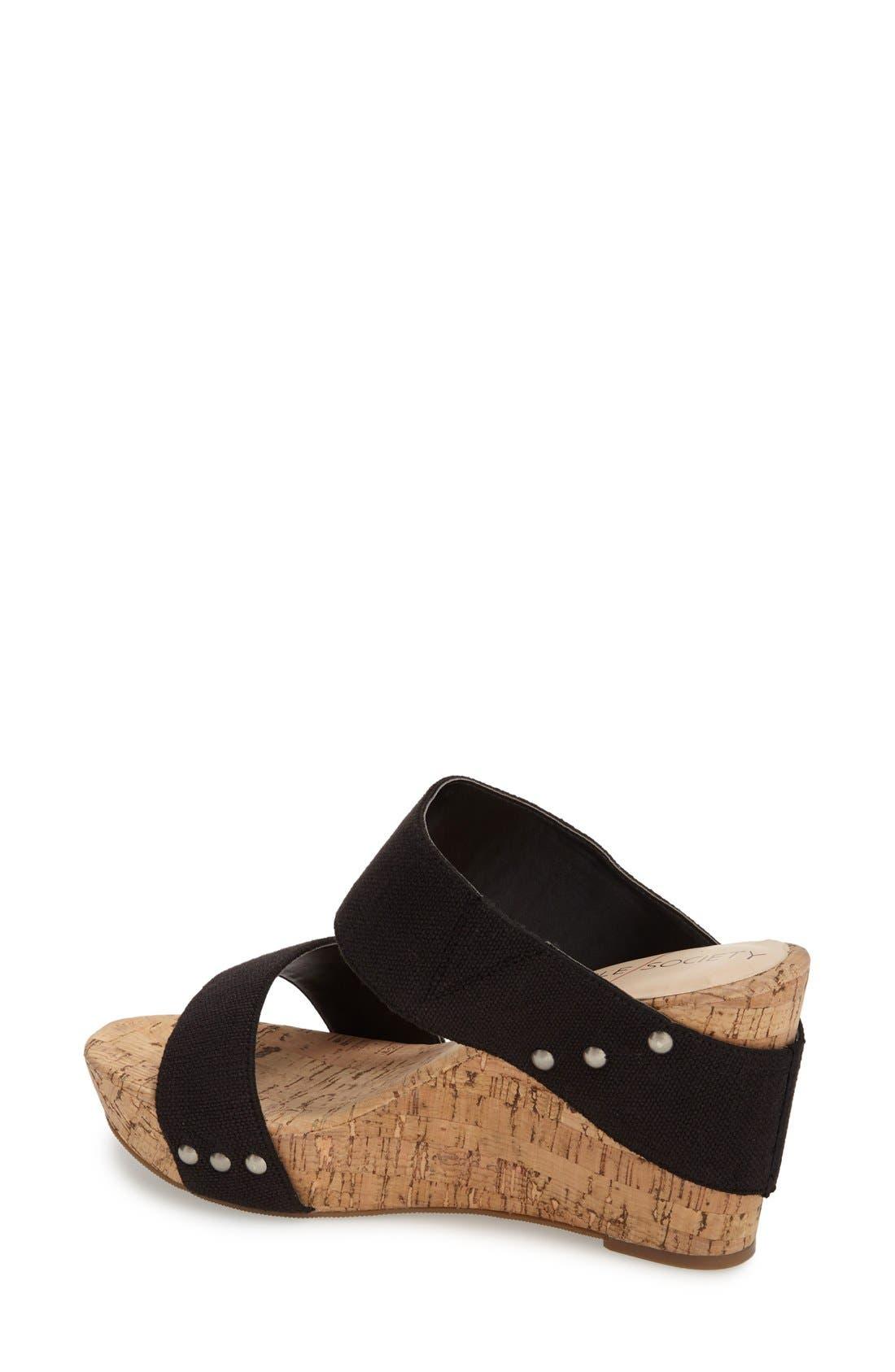 'Emilia 2' Wedge Sandal,                             Alternate thumbnail 2, color,                             Black