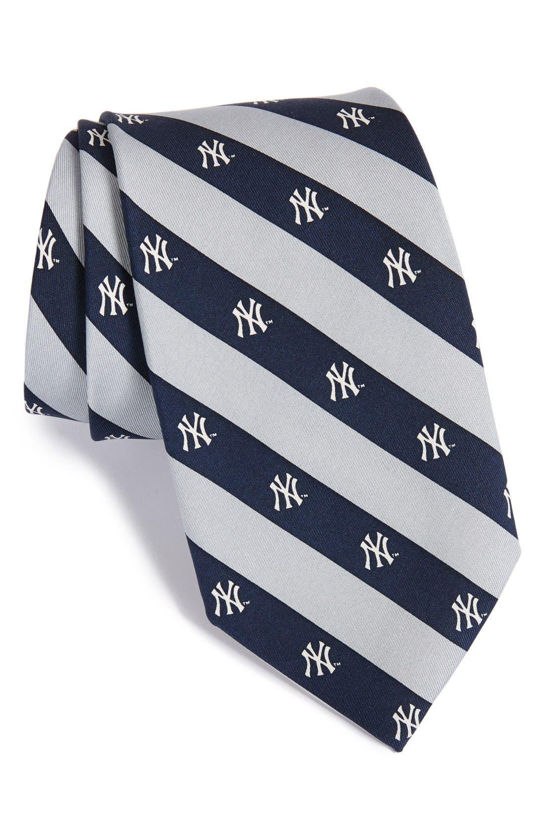 New York Yankees - MLB Print Silk Tie,                             Main thumbnail 1, color,                             Navy