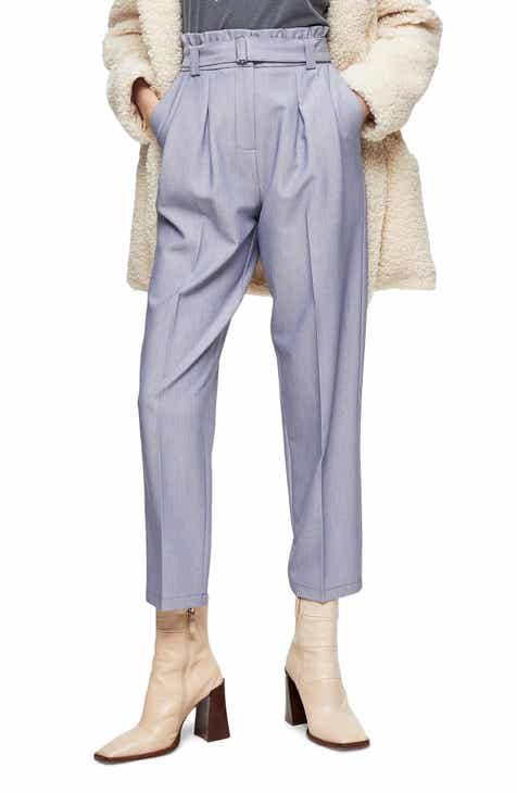 Topshop Lima Belted Paperbag Waist Trousers
