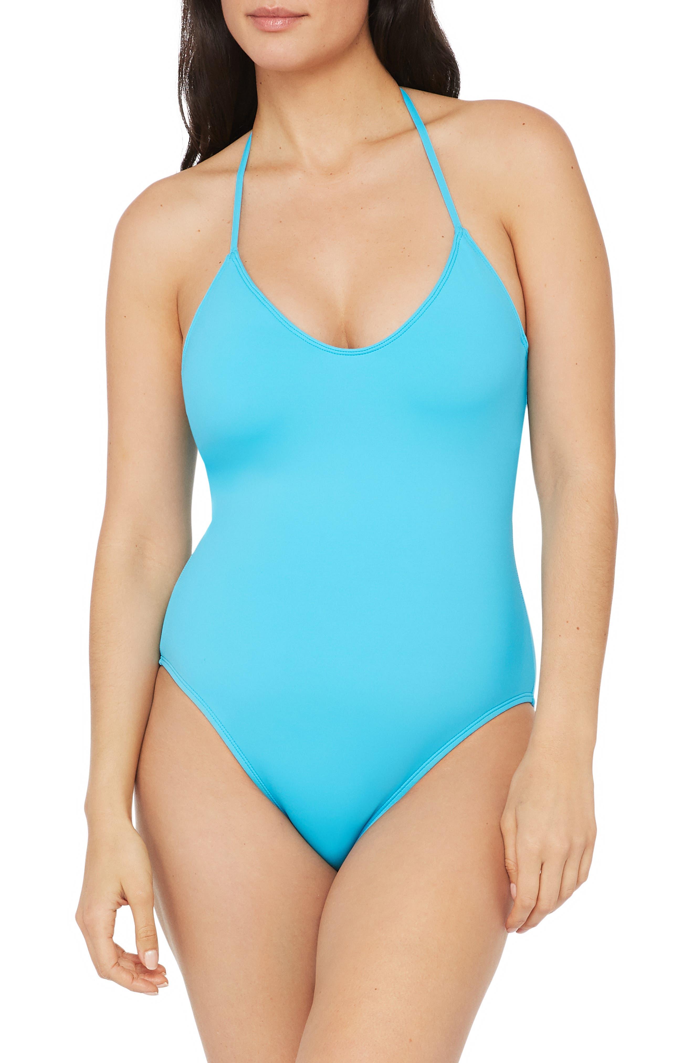 Esqlotre Women Halter One-Piece Padded Polka Dot Patchwork Swimdress Skirt Swimsuit