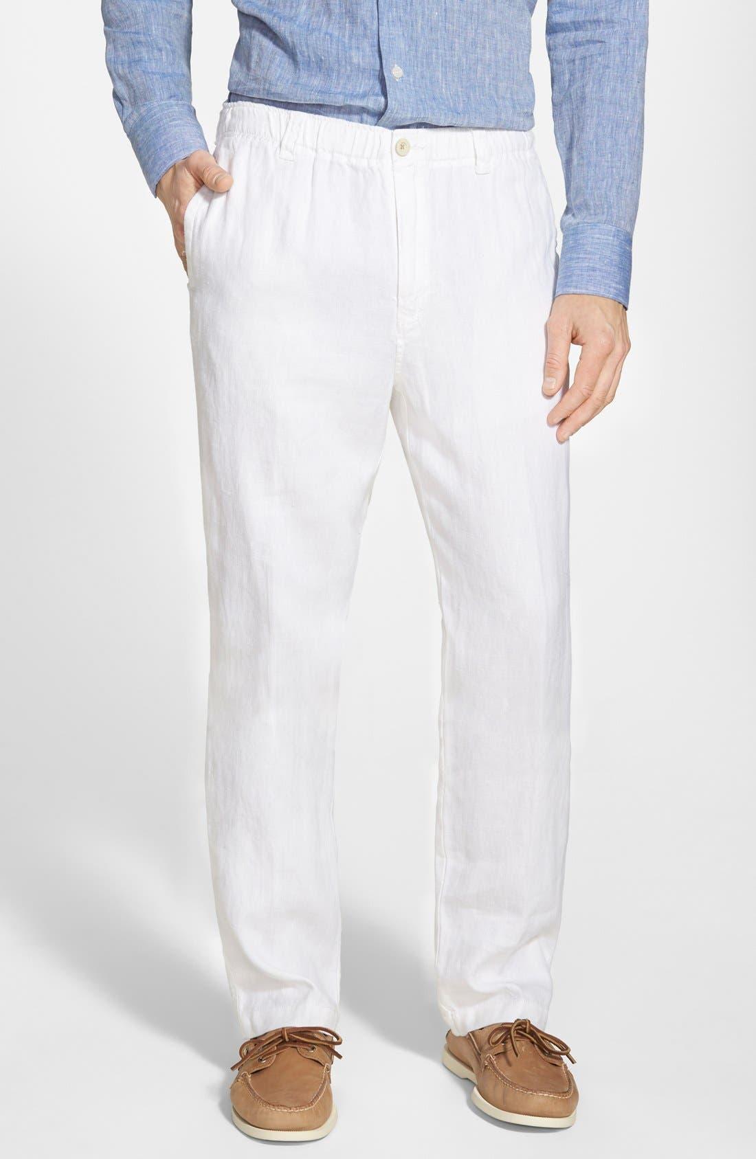 New Linen on the Beach Linen Pants,                         Main,                         color, White