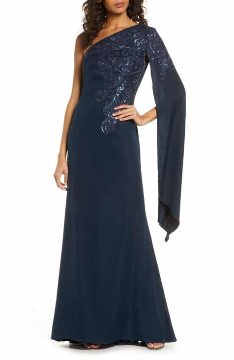 Tadashi Shoji Sequin Cape Sleeve Gown