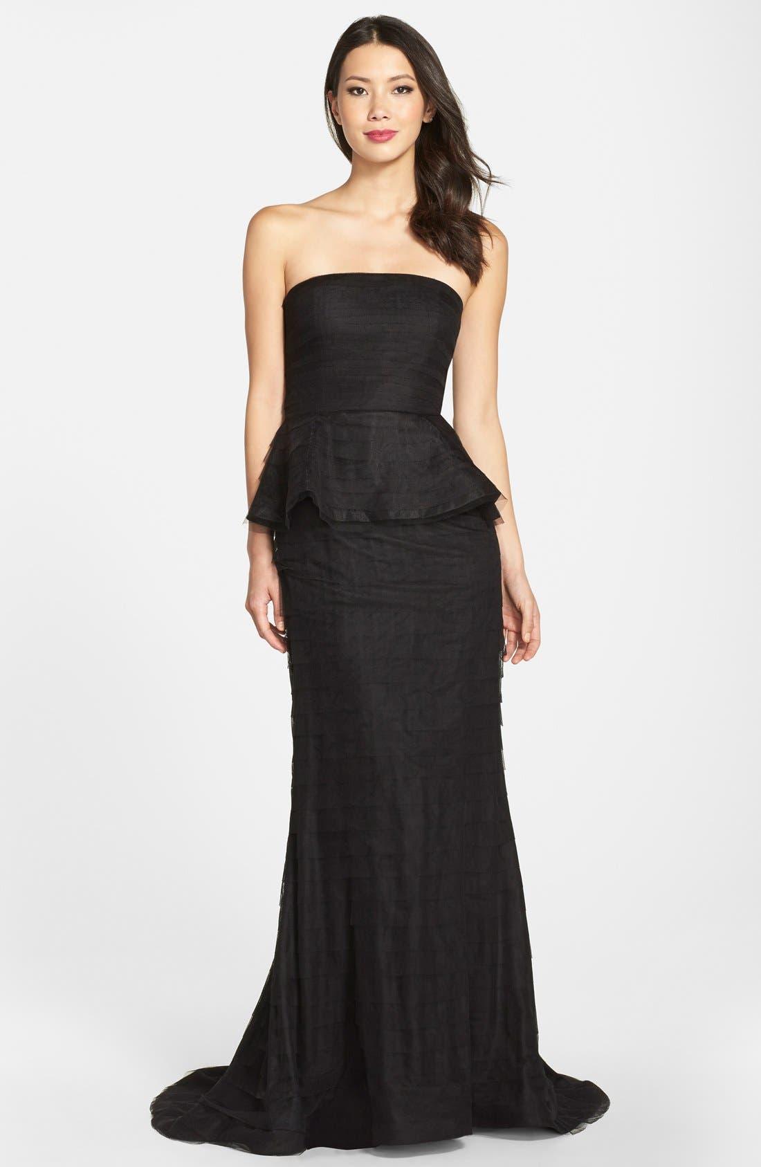 Alternate Image 1 Selected - Adrianna Papell Shutter Pleat Mesh Peplum Gown