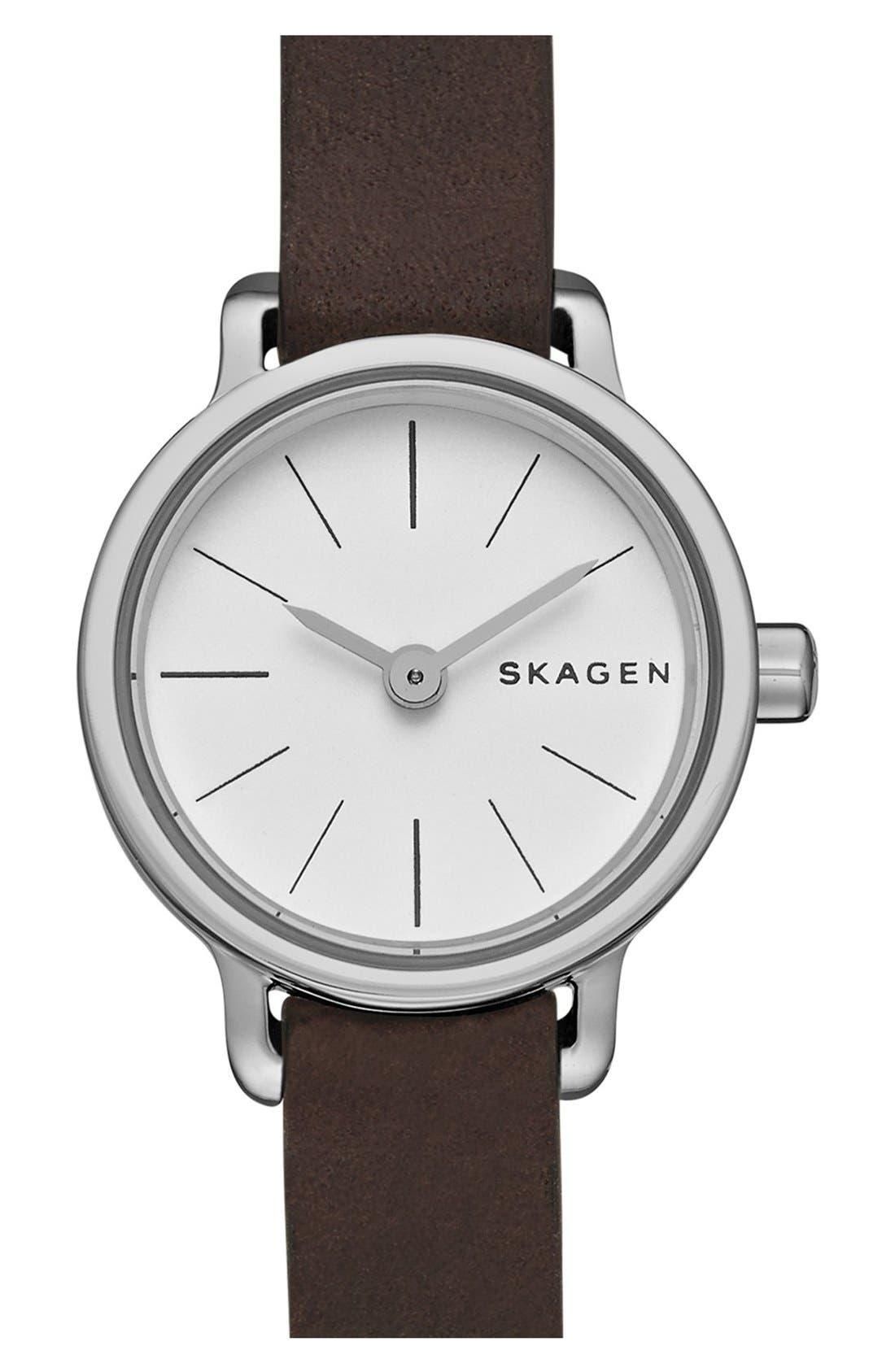 Alternate Image 1 Selected - Skagen 'Hagen' Leather Strap Watch, 20mm