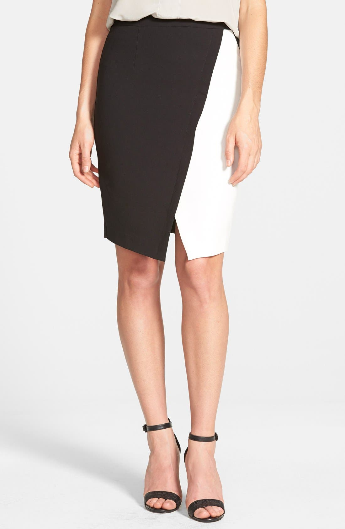 Alternate Image 1 Selected - Halogen® Colorblock Faux Wrap Skirt
