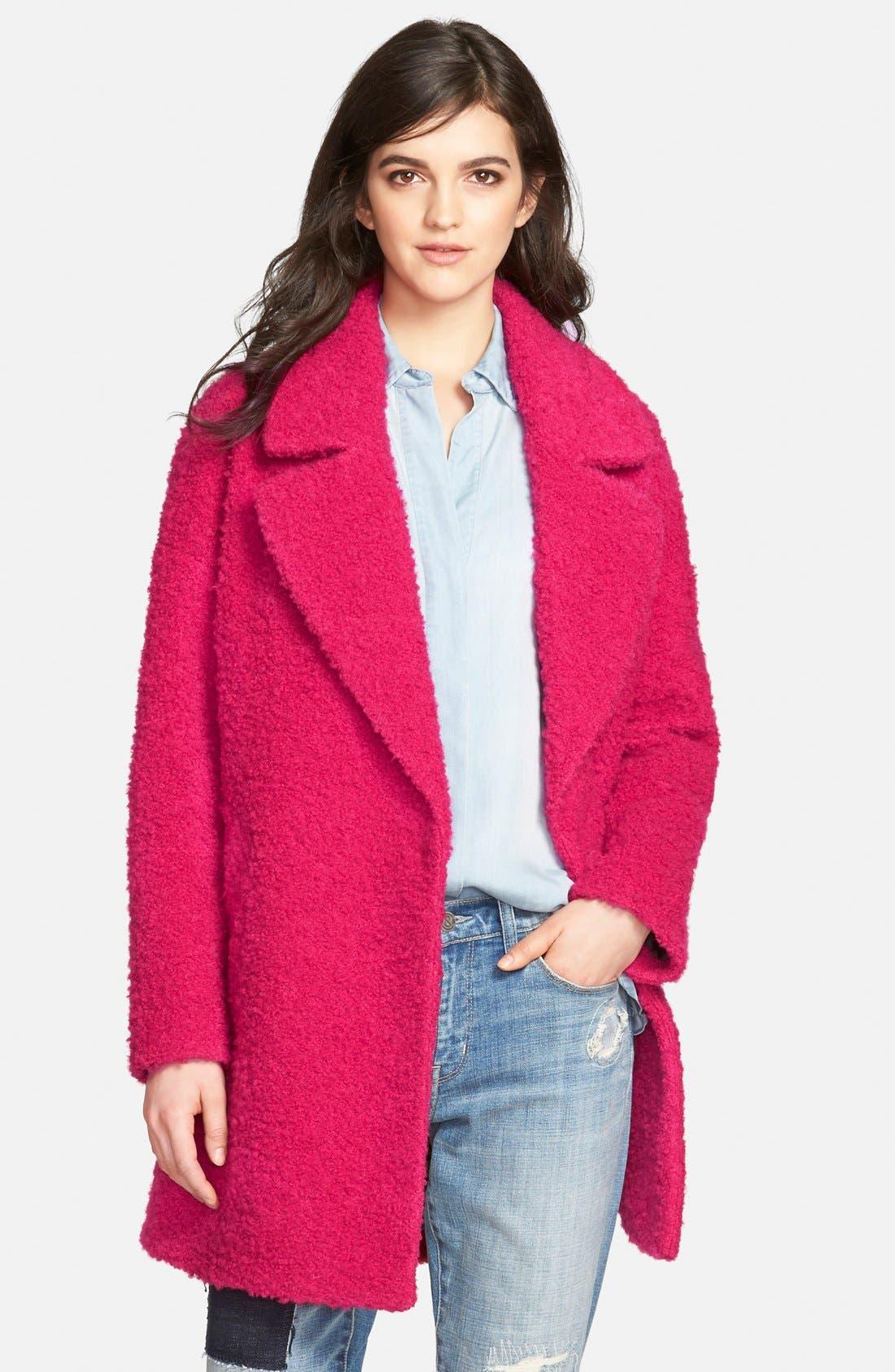 Notch Collar Bouclé Coat,                         Main,                         color, Pink Tourmiline