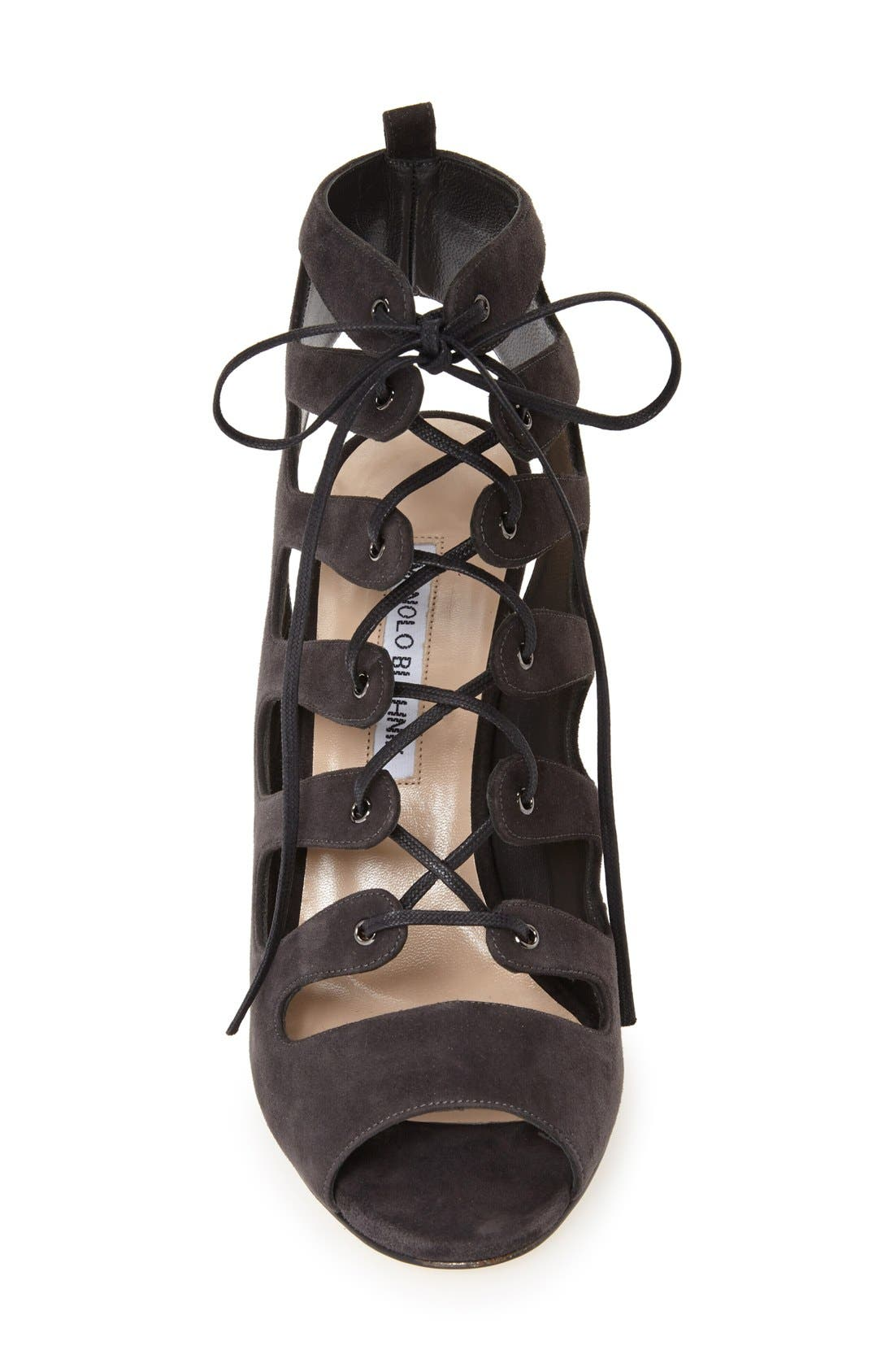 'Attal' Lace-Up Sandal,                             Alternate thumbnail 3, color,                             Grey
