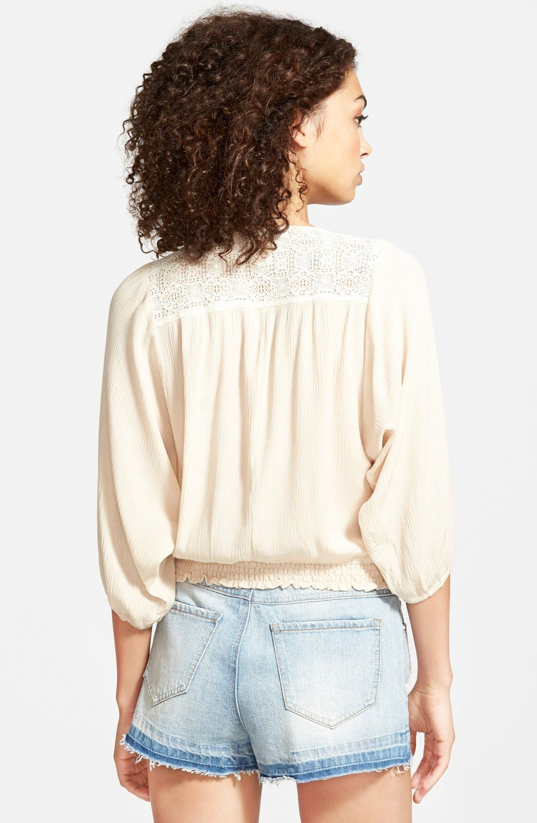 Alternate Image 2  - Flying Tomato Embroidered Peasant Top (Juniors)
