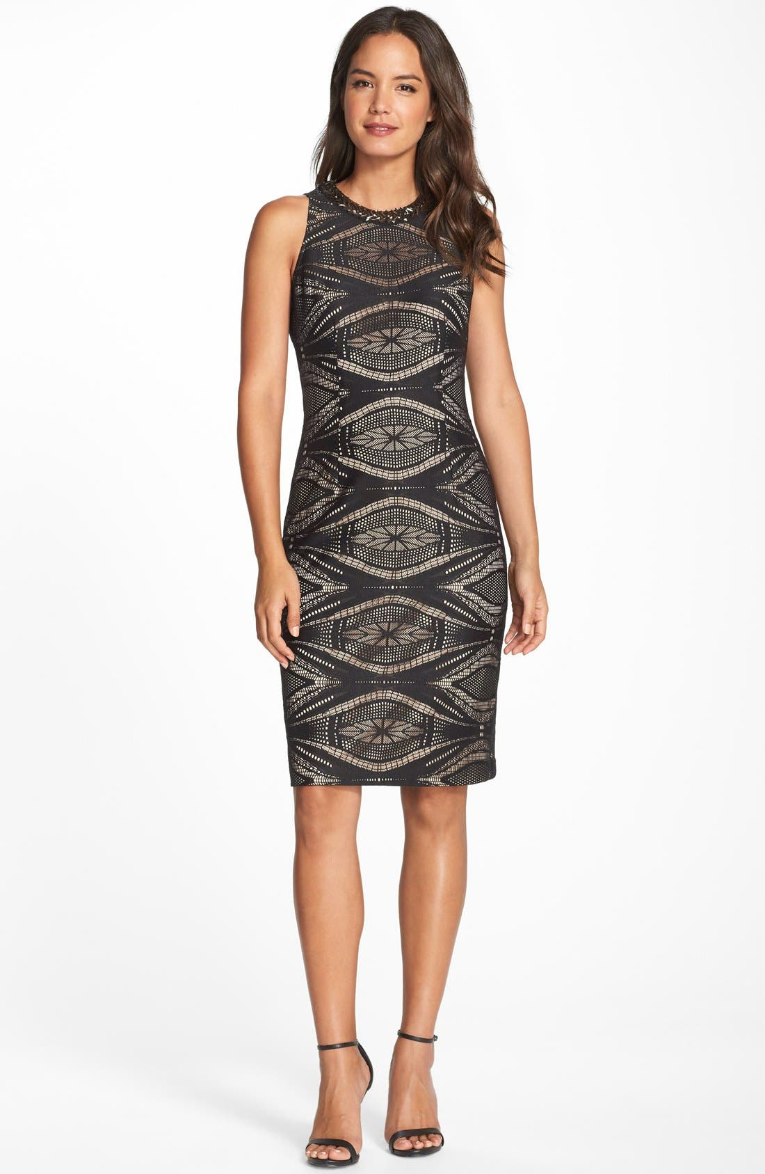 Alternate Image 2  - Maggy London Embellished Lace Sheath Dress