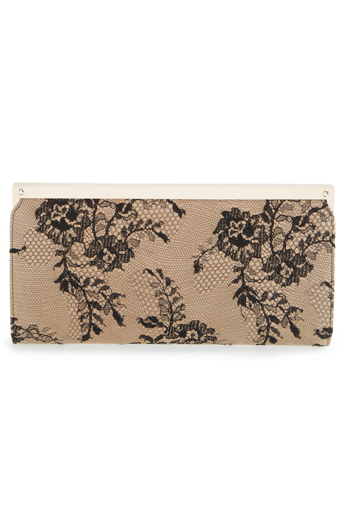 Camille Lace & Leather Clutch,                             Alternate thumbnail 3, color,                             Black