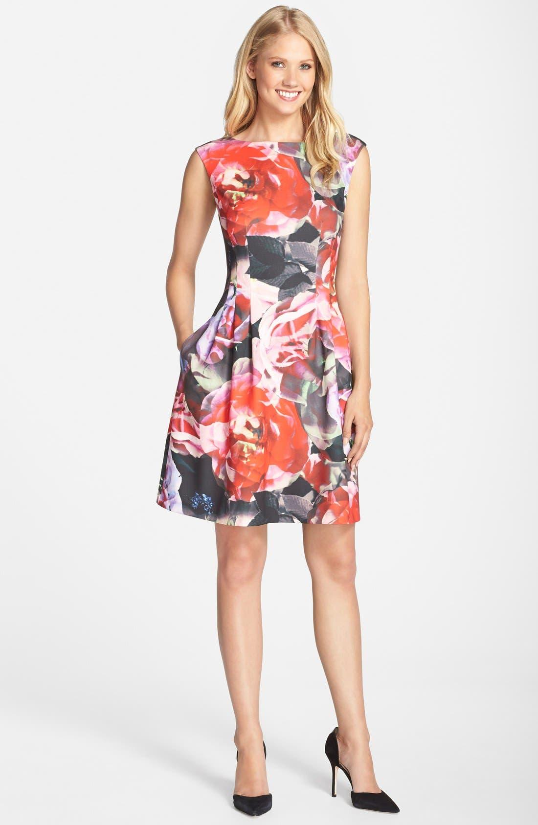 Alternate Image 3  - Vince Camuto Floral Print Scuba Fit & Flare Dress (Regular & Petite)