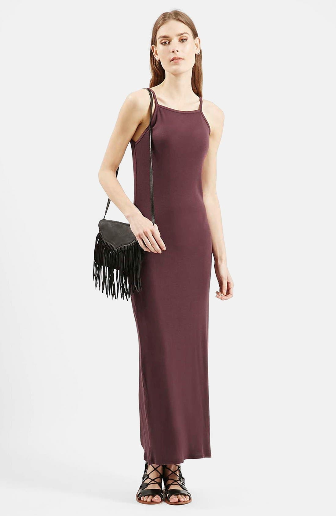 Alternate Image 1 Selected - Topshop Ribbed Black Maxi Dress (Regular & Petite)