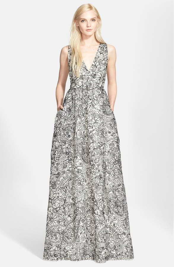 Tory Burch Embroidered Silk Organza Gown | Nordstrom