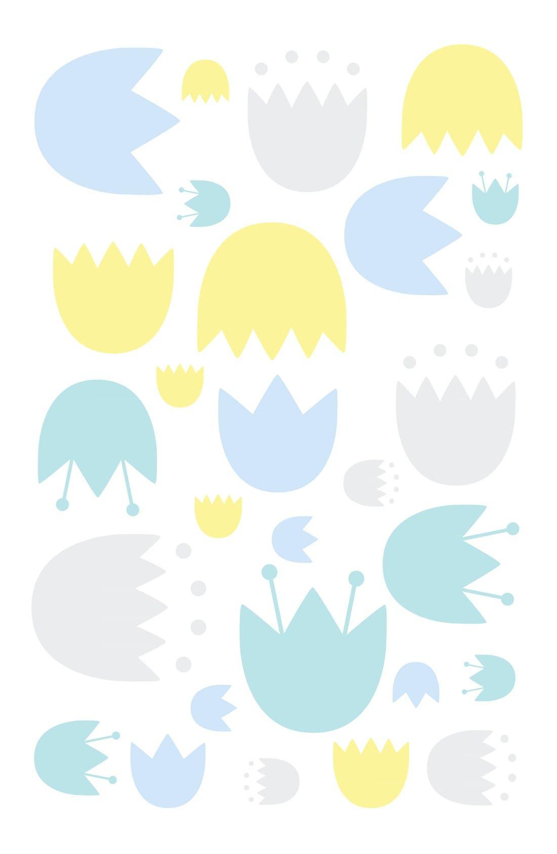 'Garden' Crib Sheet, Crib Skirt, Stroller Blanket & Wall Decals,                             Alternate thumbnail 2, color,                             Blue