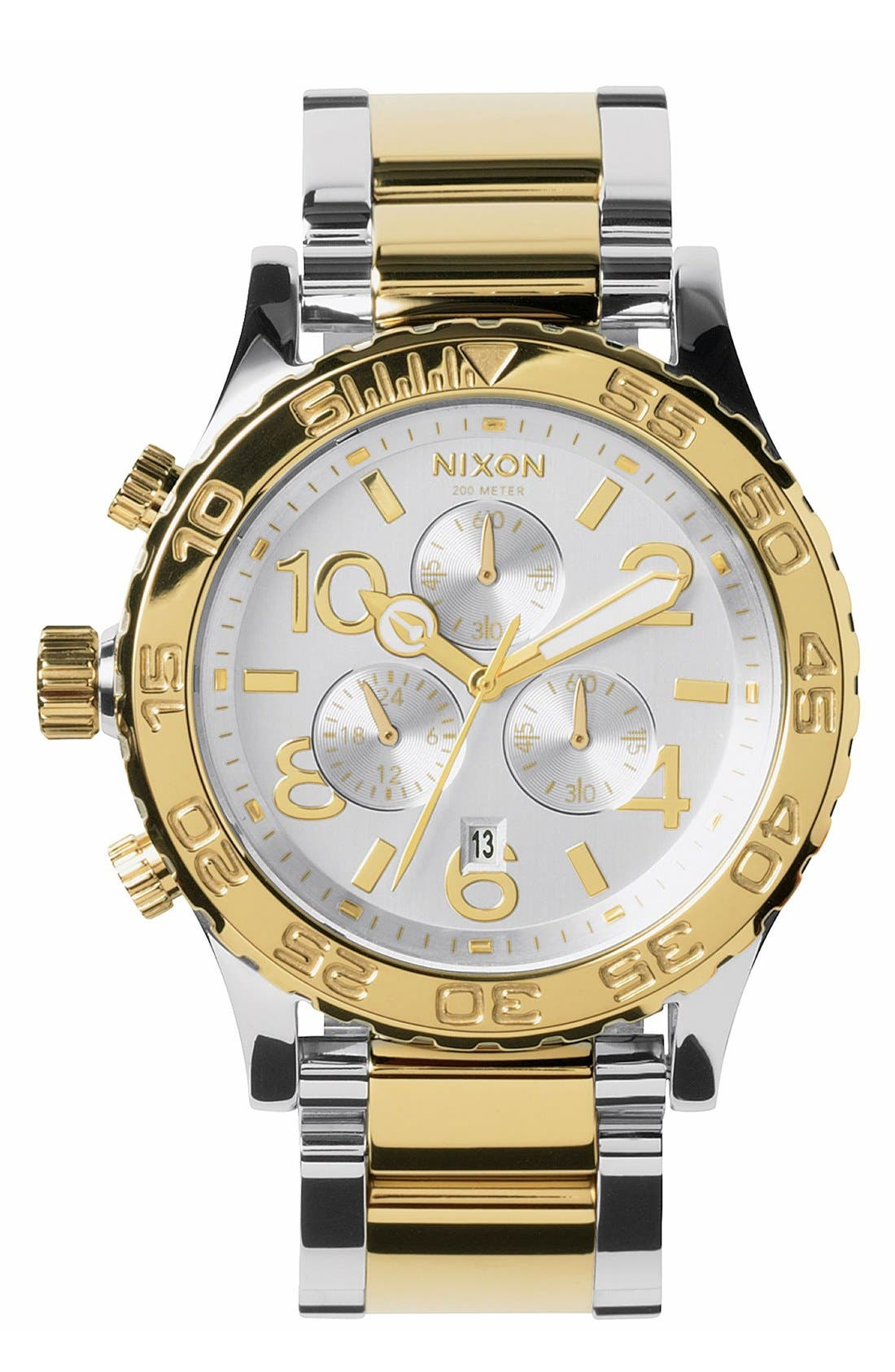 'The 42-20 Chrono' Watch, 42mm,                             Main thumbnail 1, color,                             Silver/ Champagne Gold