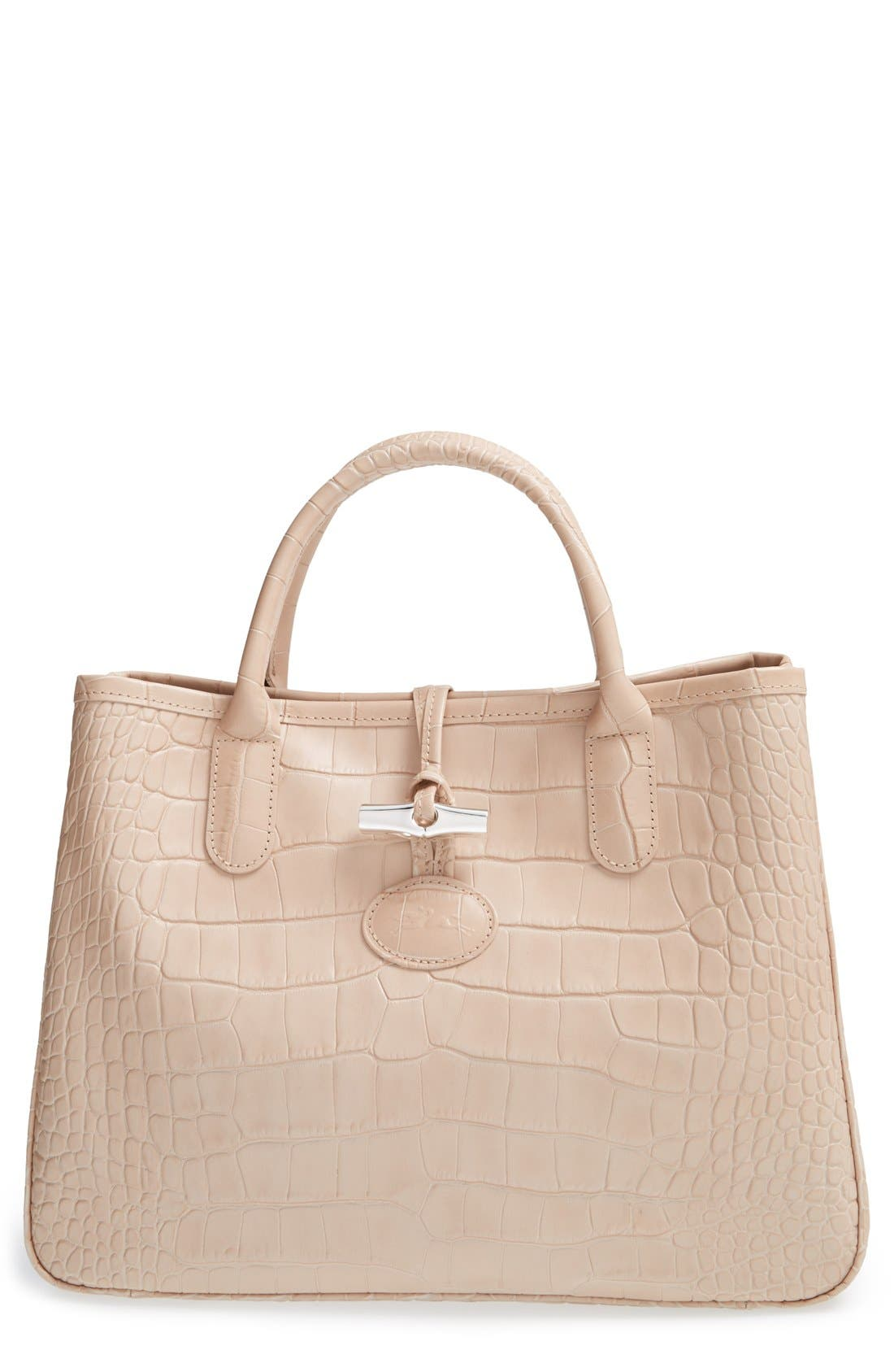 Main Image - Longchamp 'Small Roseau Croco' Shoulder Tote