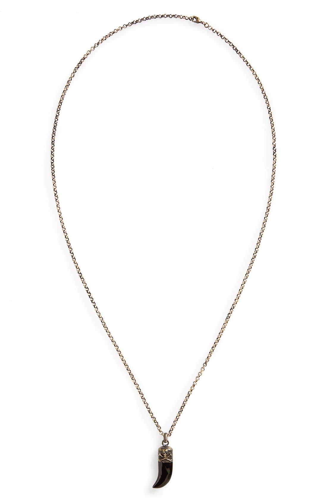 Claw Pendant Necklace,                         Main,                         color, Black
