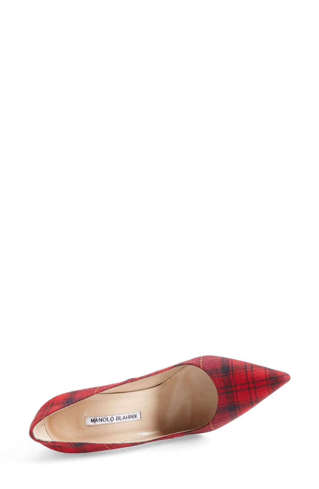 BB Pointy Toe Pump,                             Alternate thumbnail 3, color,                             Red Plaid Fabric