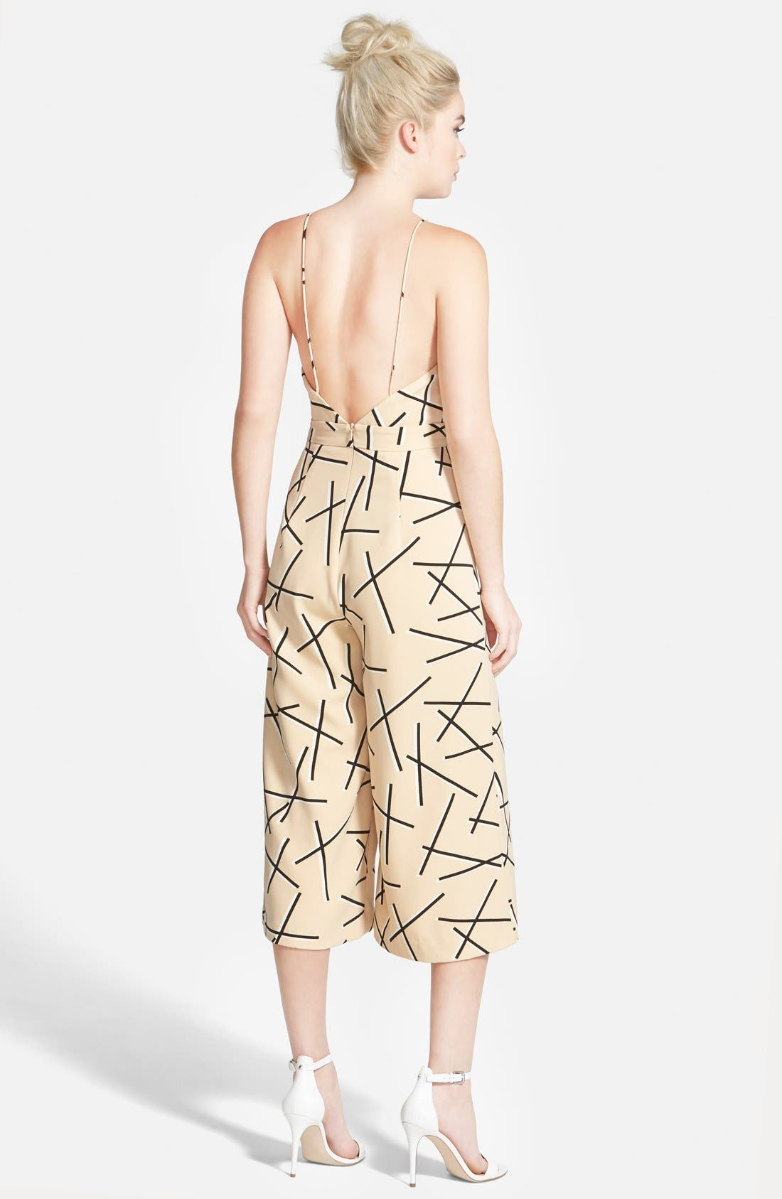 'Power Trip' Culotte Jumpsuit,                             Alternate thumbnail 2, color,                             Geo Beige