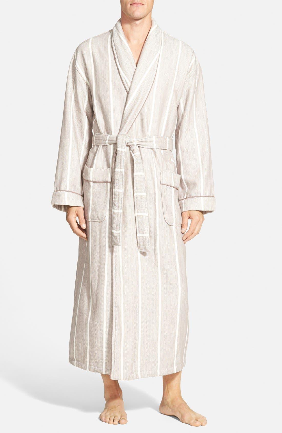 'Breakers' Herringbone Cotton Robe,                         Main,                         color, Driftwood