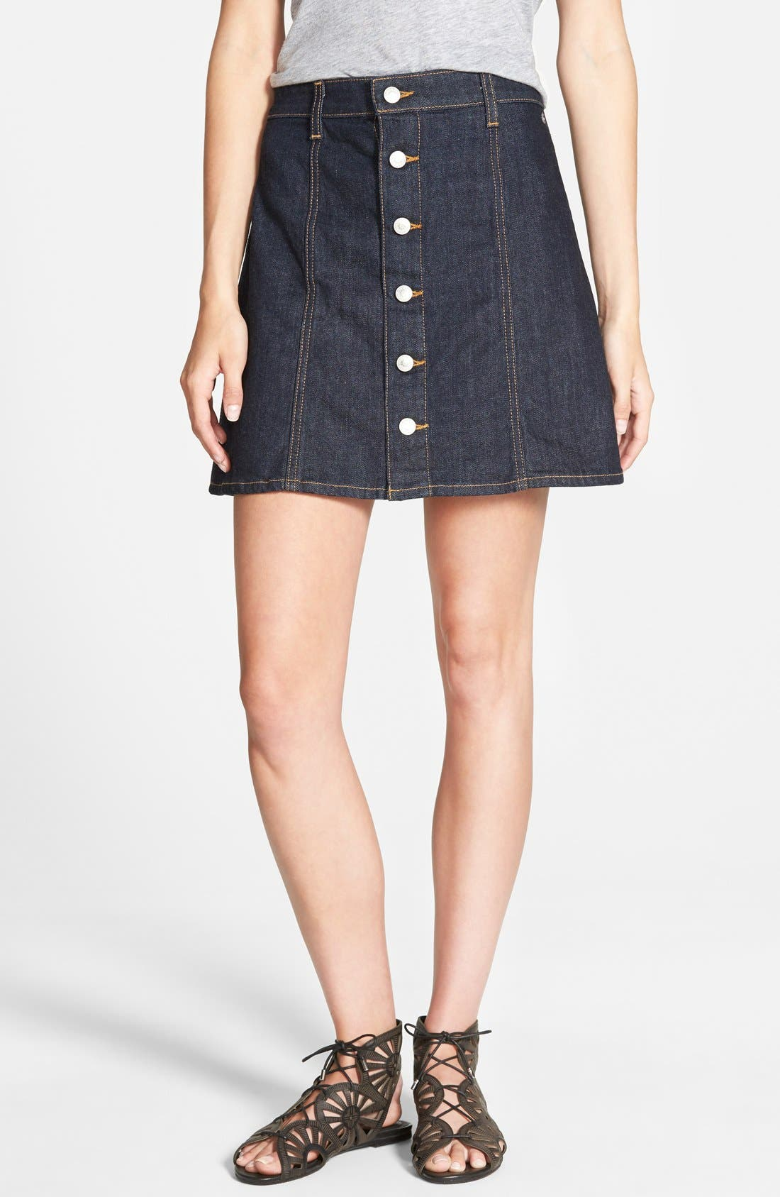 Alternate Image 1 Selected - Alexa Chung for AG 'The Kety' A-Line Denim Skirt (Loan Star)