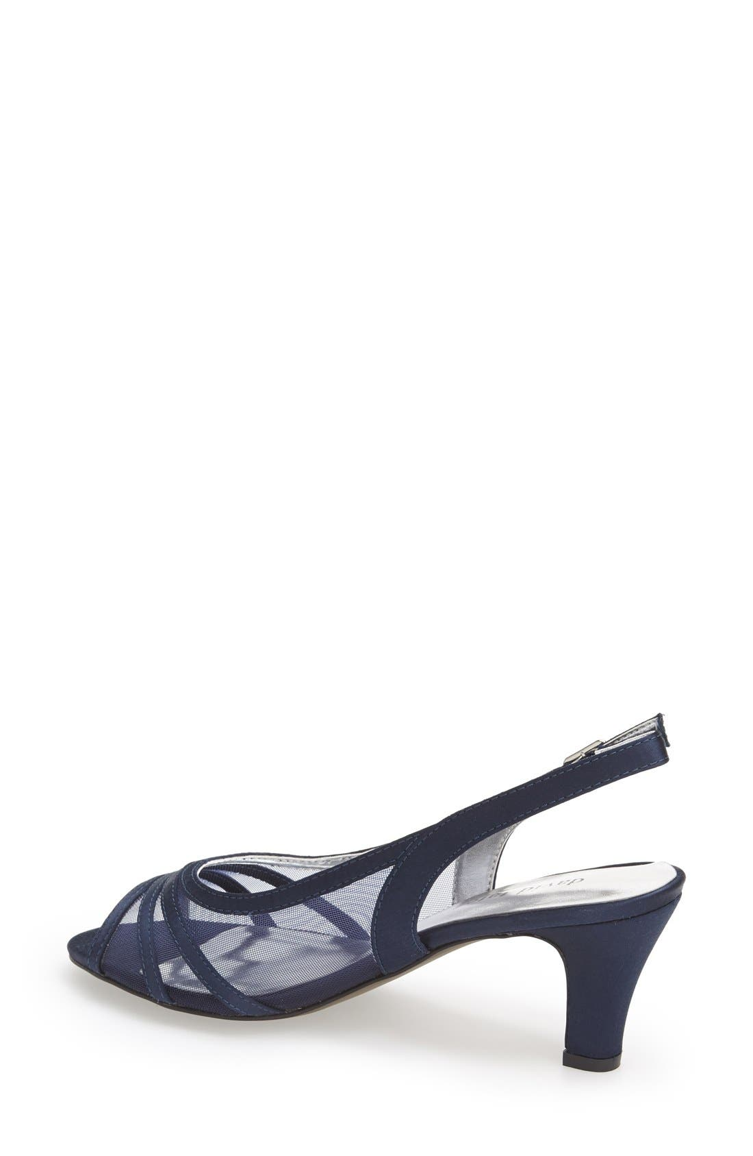 'Petal' Open Toe Slingback Pump,                             Alternate thumbnail 2, color,                             Navy Fabric