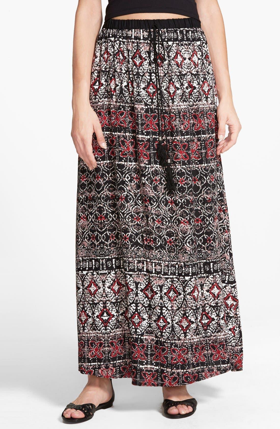 Main Image - Angie Mixed Print Maxi Skirt (Juniors)