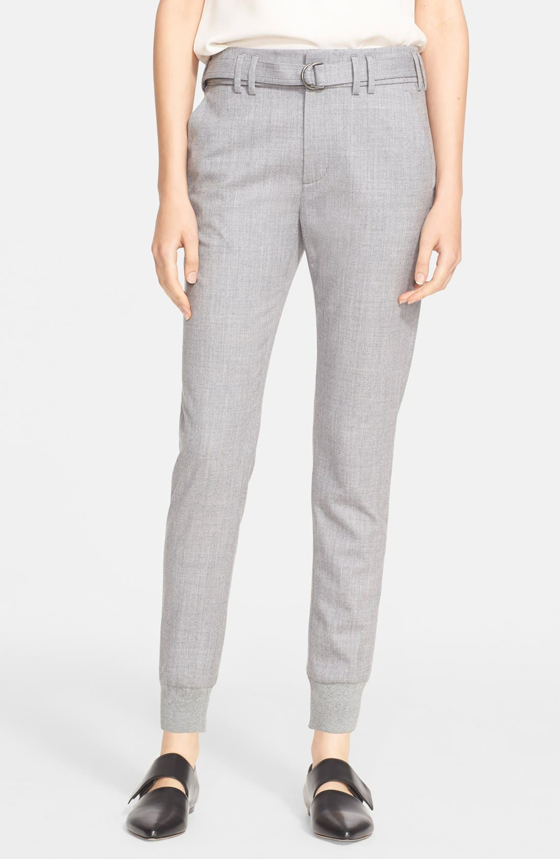 Belted Rib Cuff Jogger Pants,                         Main,                         color, Light Heather Grey