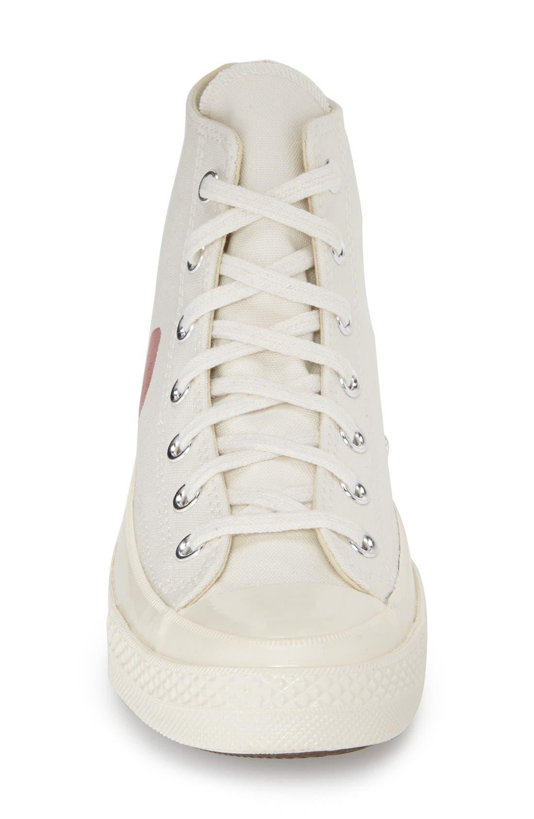 Comme des Garçons PLAYx Converse Chuck Taylor<sup>®</sup> - Hidden Heart High TopSneaker,                             Alternate thumbnail 3, color,                             White Canvas