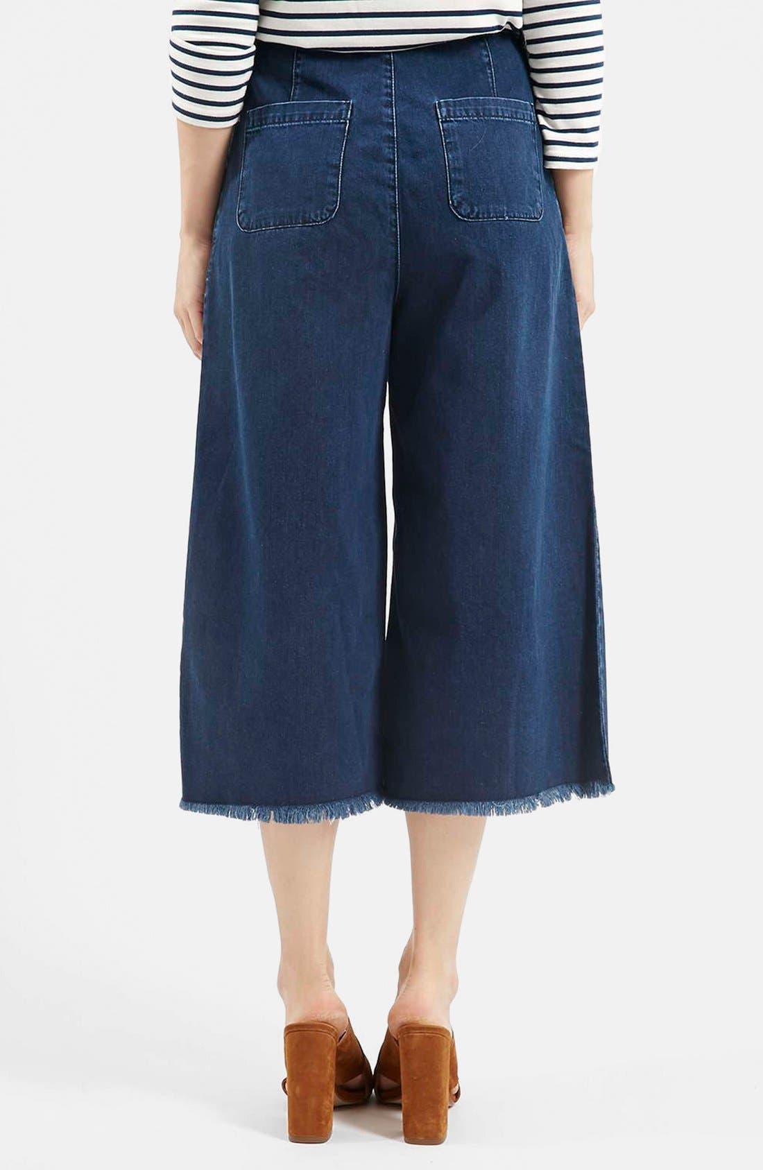 Alternate Image 2  - Topshop Moto Raw Hem Denim Culottes (Navy Blue) (Regular & Short)