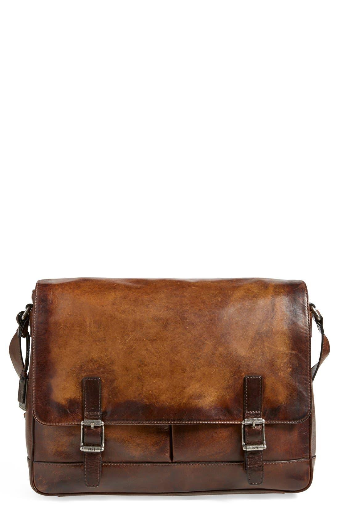 'Oliver' Leather Messenger Bag,                             Main thumbnail 1, color,                             Dark Brown