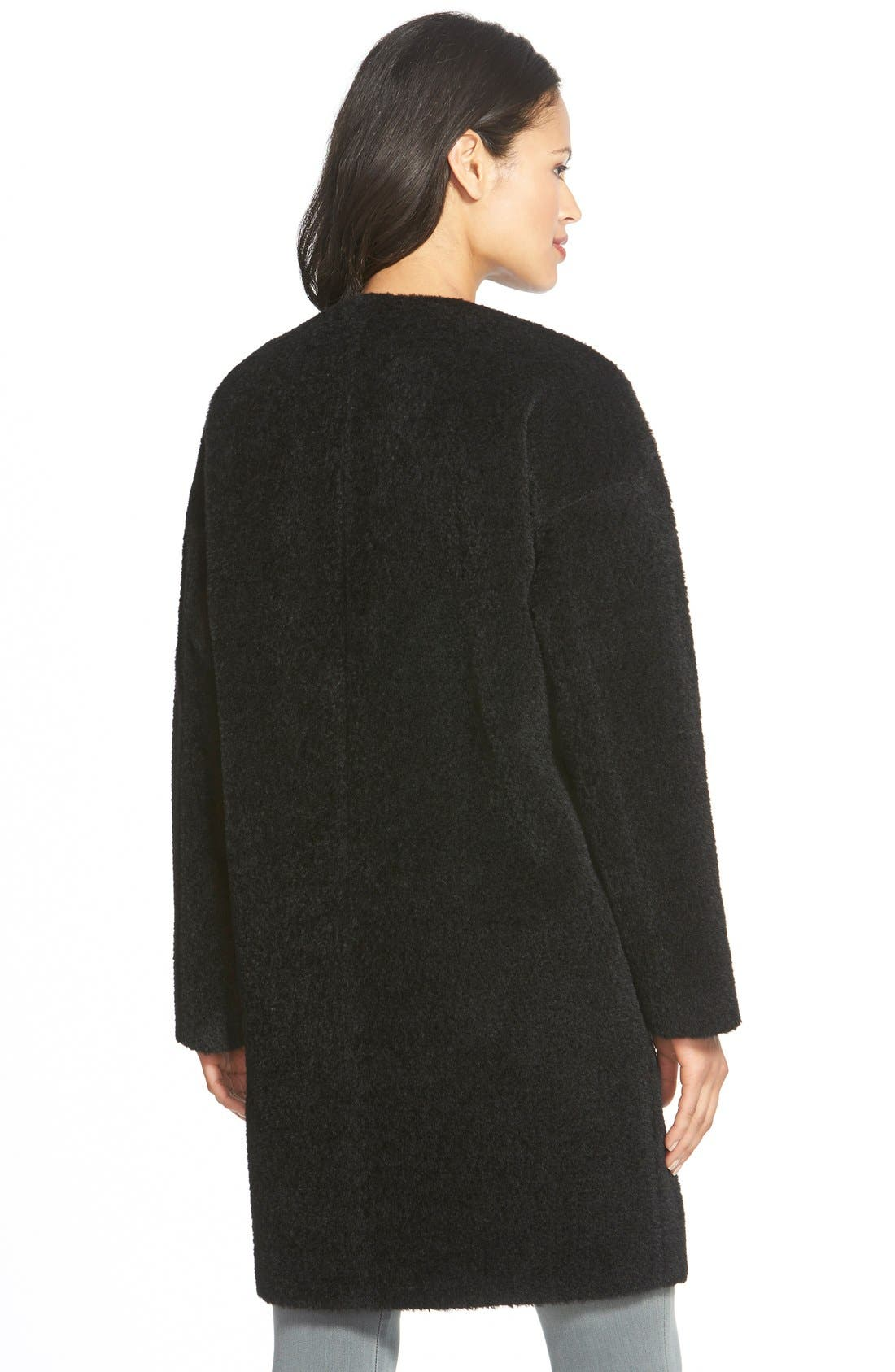 Wool & Alpaca Blend Collarless Coat,                             Alternate thumbnail 2, color,                             Black