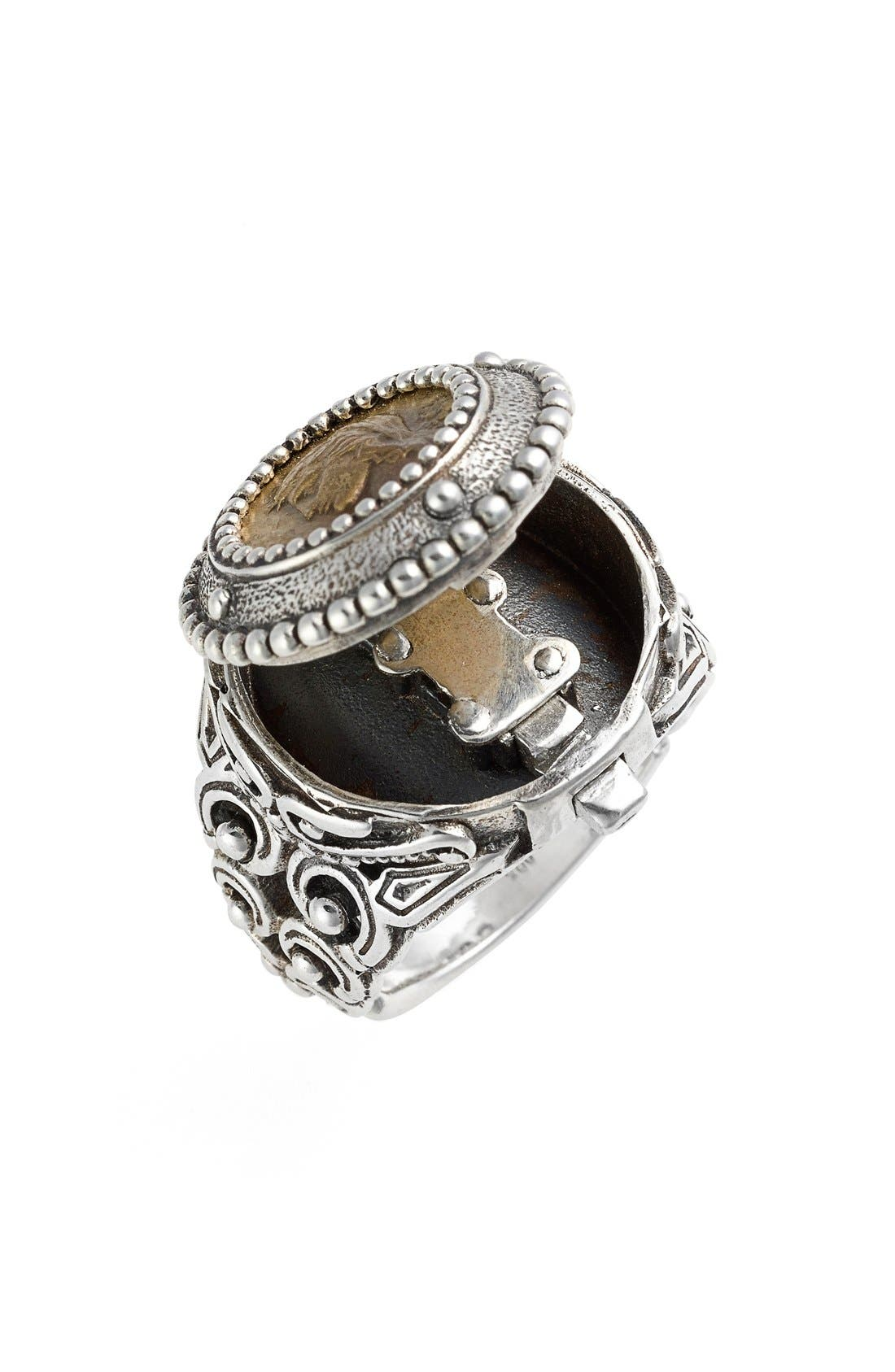 'Arethusa' Hinged Coin Ring,                             Alternate thumbnail 2, color,                             Silver/ Bronze