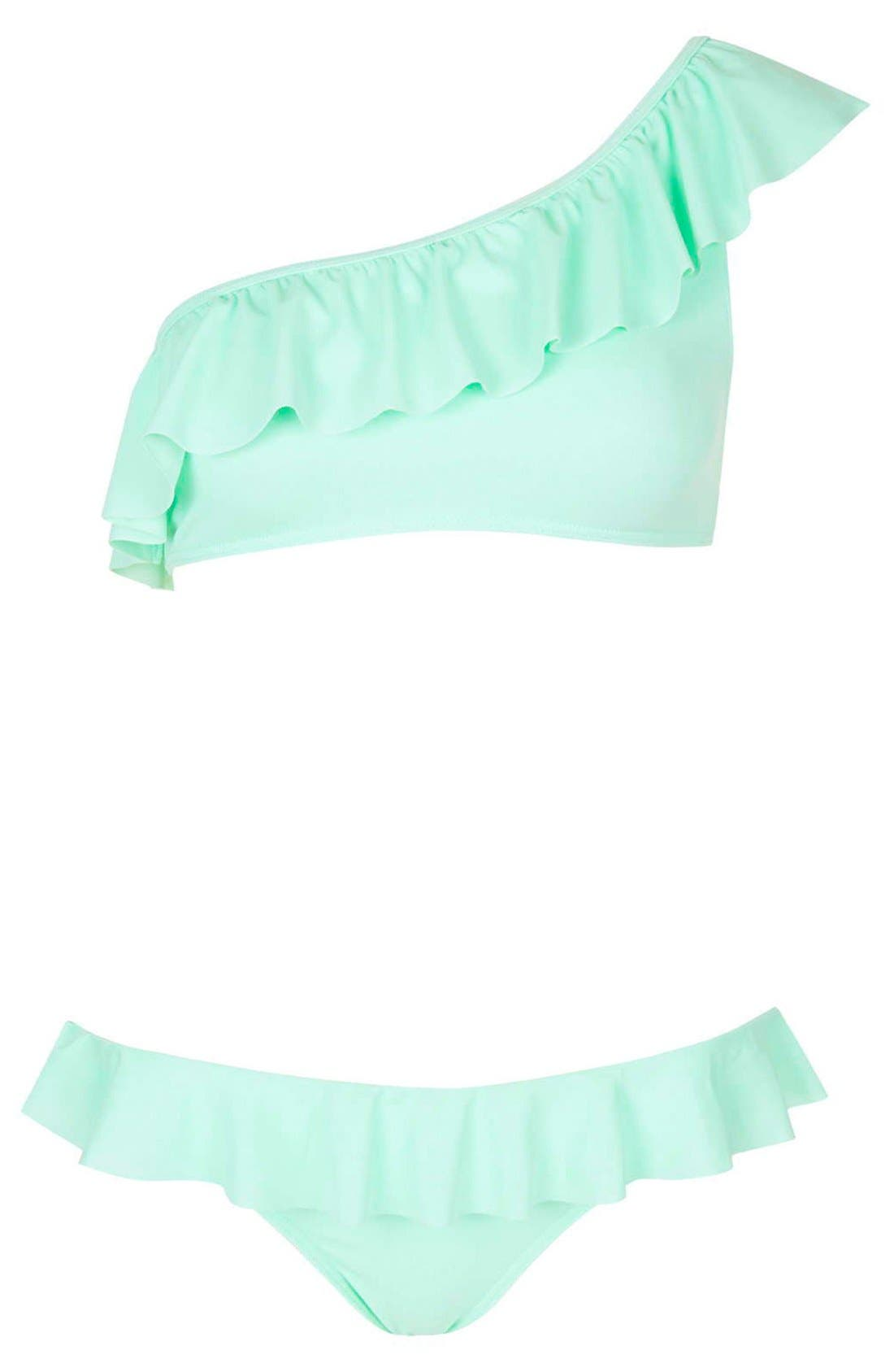 Alternate Image 3  - Topshop One-Shoulder Frill Bikini Set