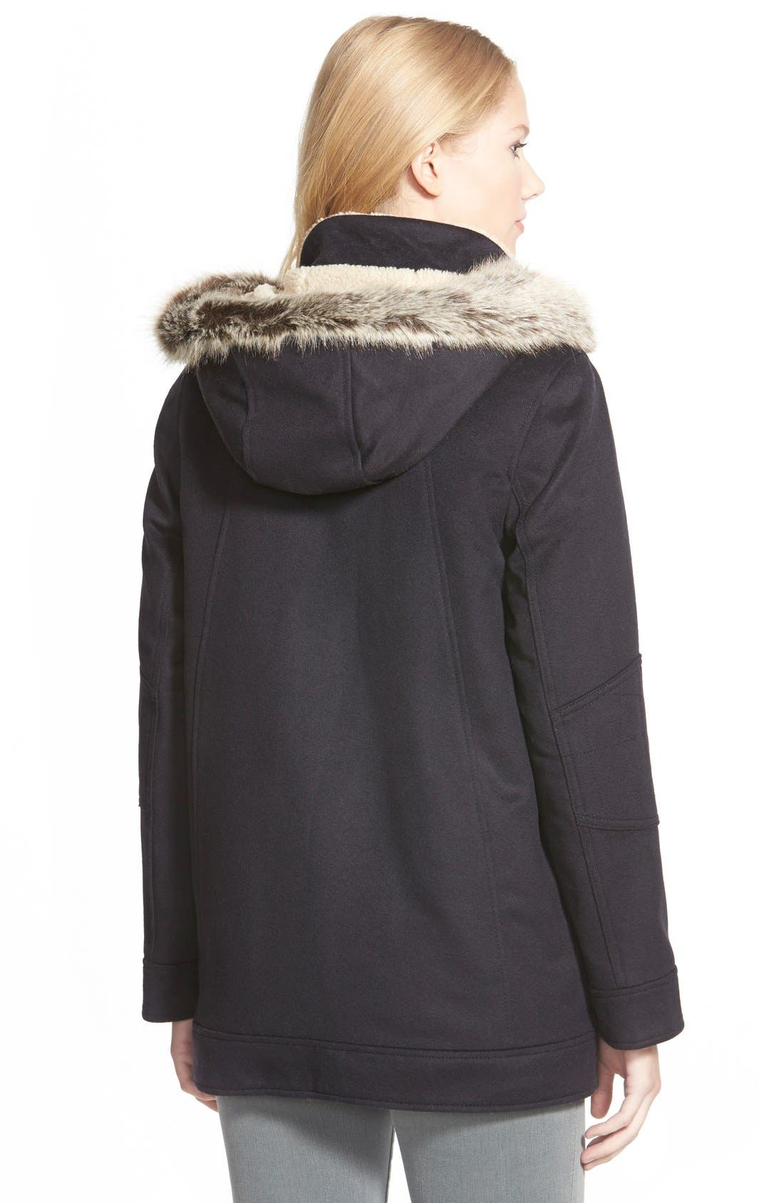 Alternate Image 2  - Barbour 'Carston' Faux Fur Trim Hooded Wool Blend Jacket