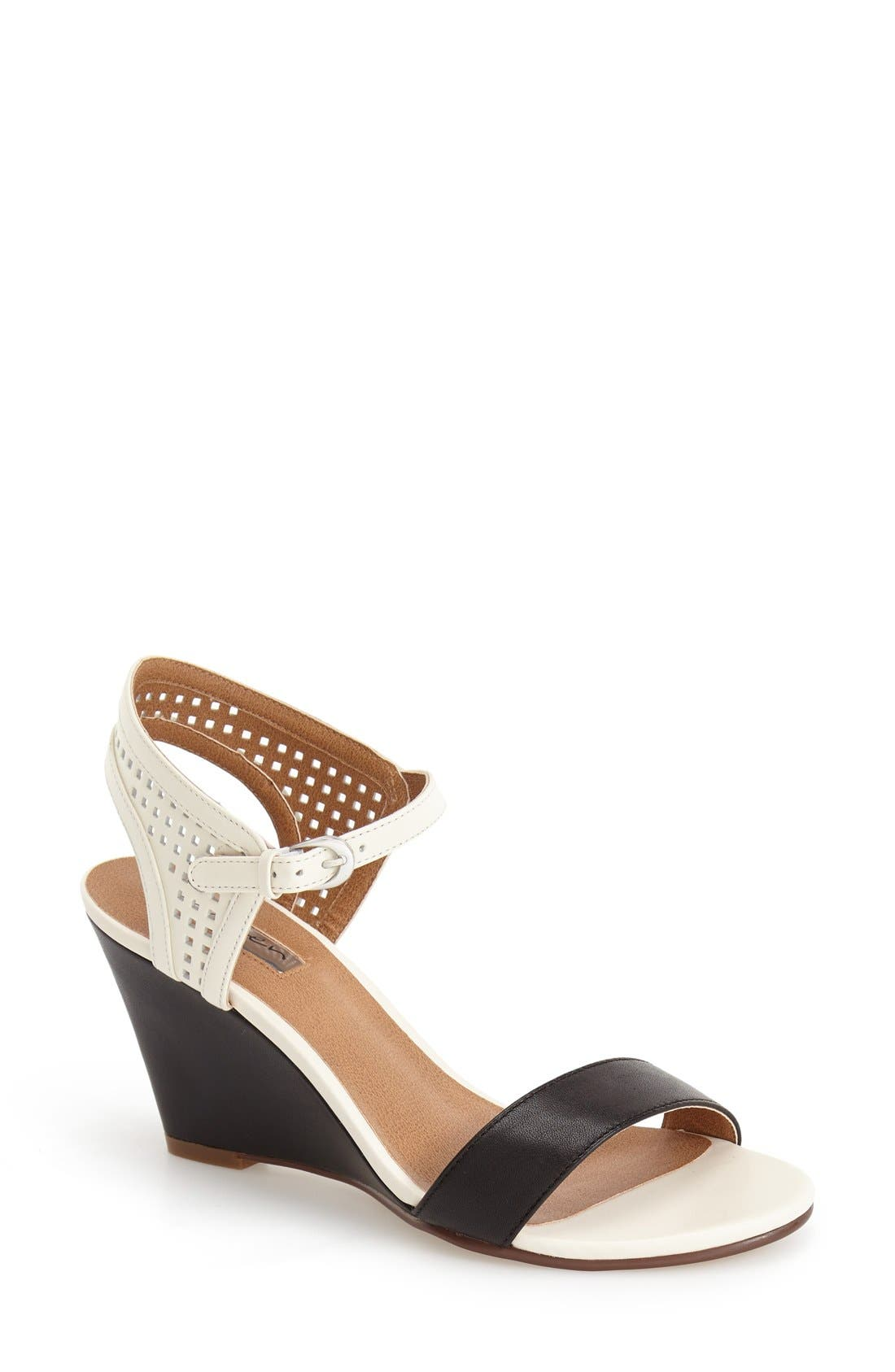 Alternate Image 1 Selected - Halogen 'Helen' Perforated Leather Ankle Strap Wedge Sandal (Women)