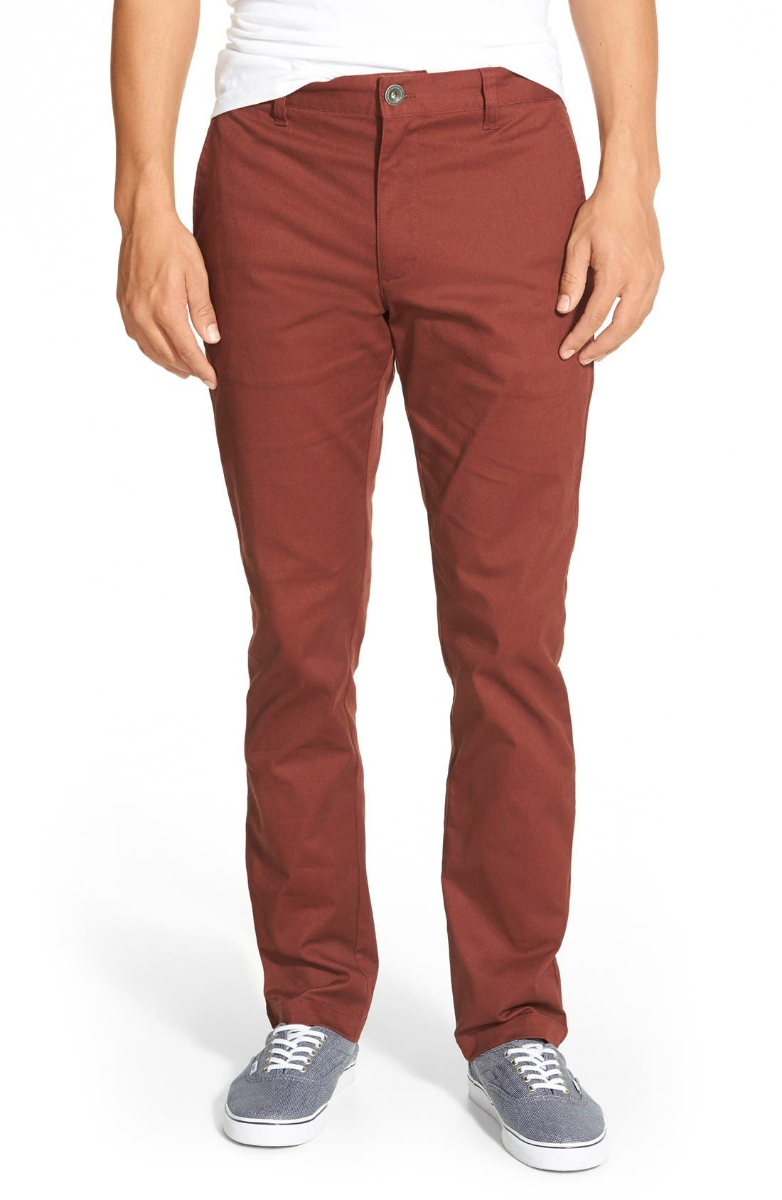 'The Week-End' Slim Straight Leg Stretch Twill Chinos,                         Main,                         color, Red Earth