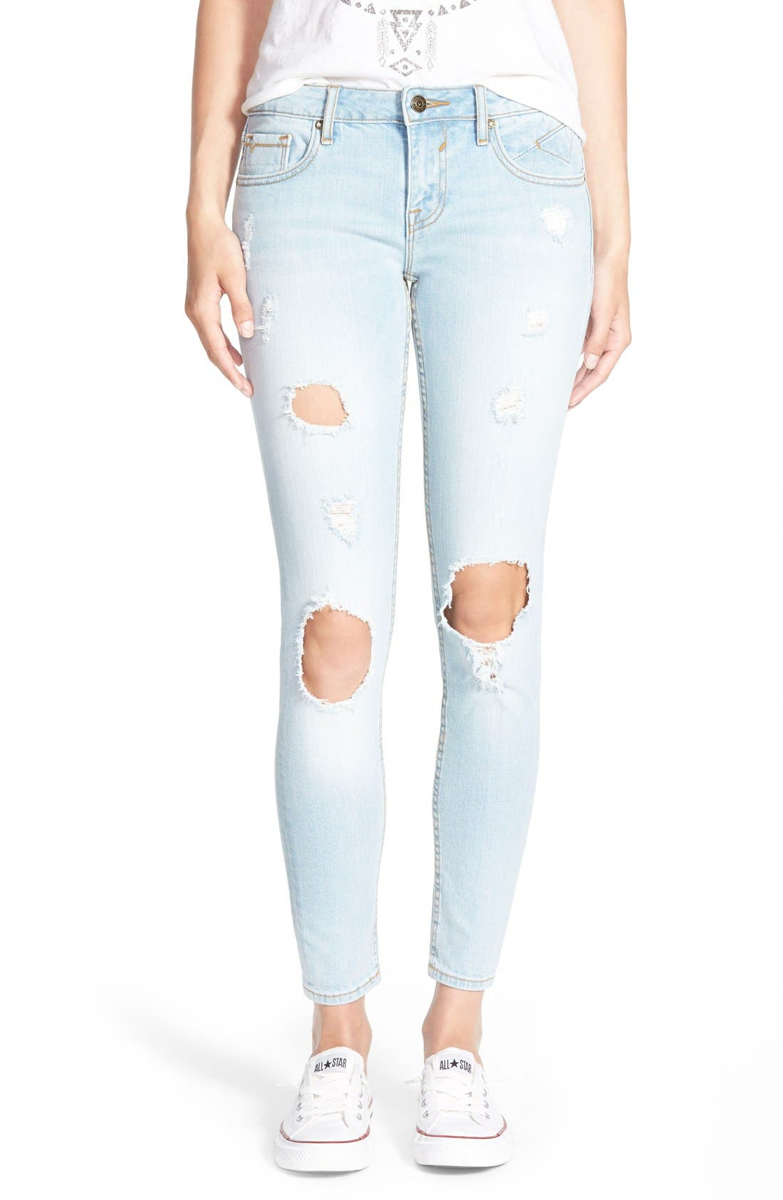 Alternate Image 1 Selected - Vigoss Destroyed Skinny Jeans (Light Wash)