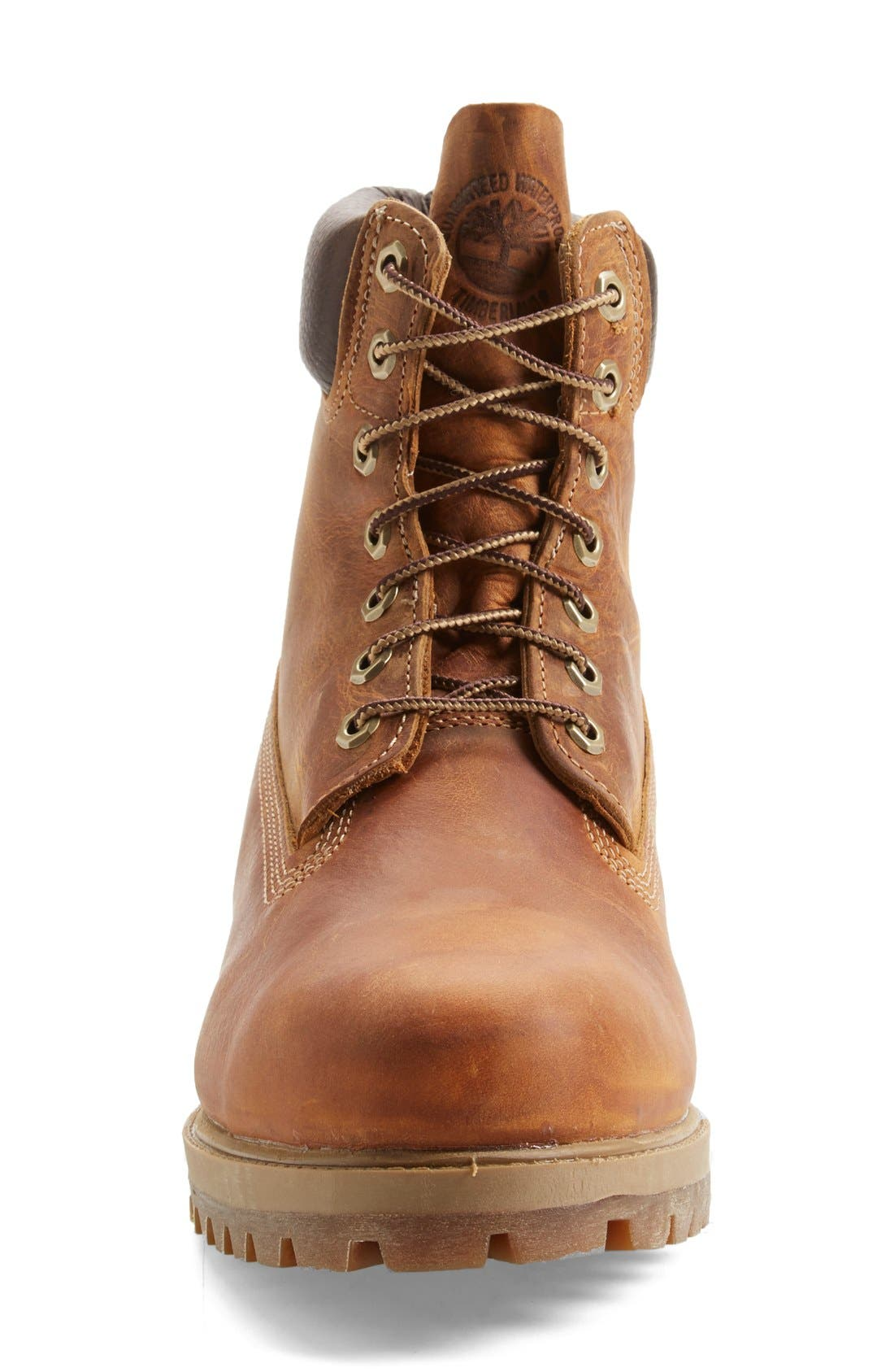 'Premium Heritage' Round Toe Boot,                             Alternate thumbnail 3, color,                             Burnt Orange Oiled Leather