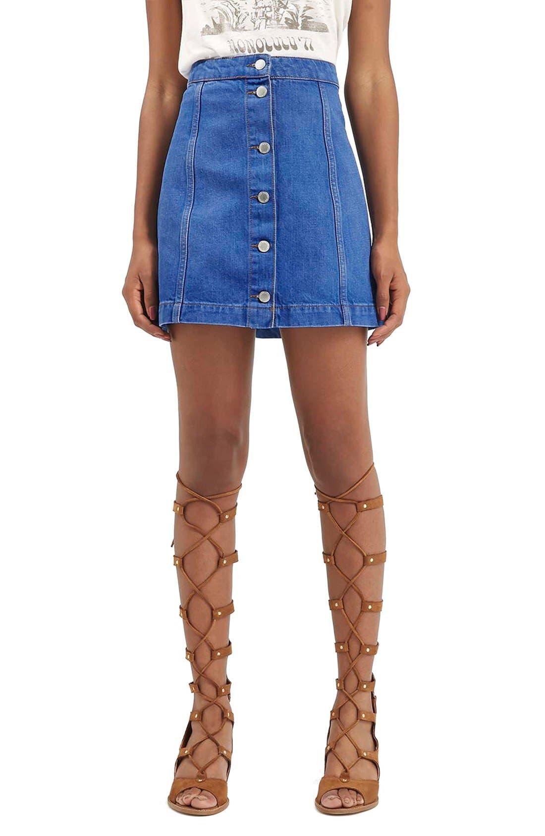 Main Image - Topshop Moto Button Front A-Line Skirt (Bright Blue)