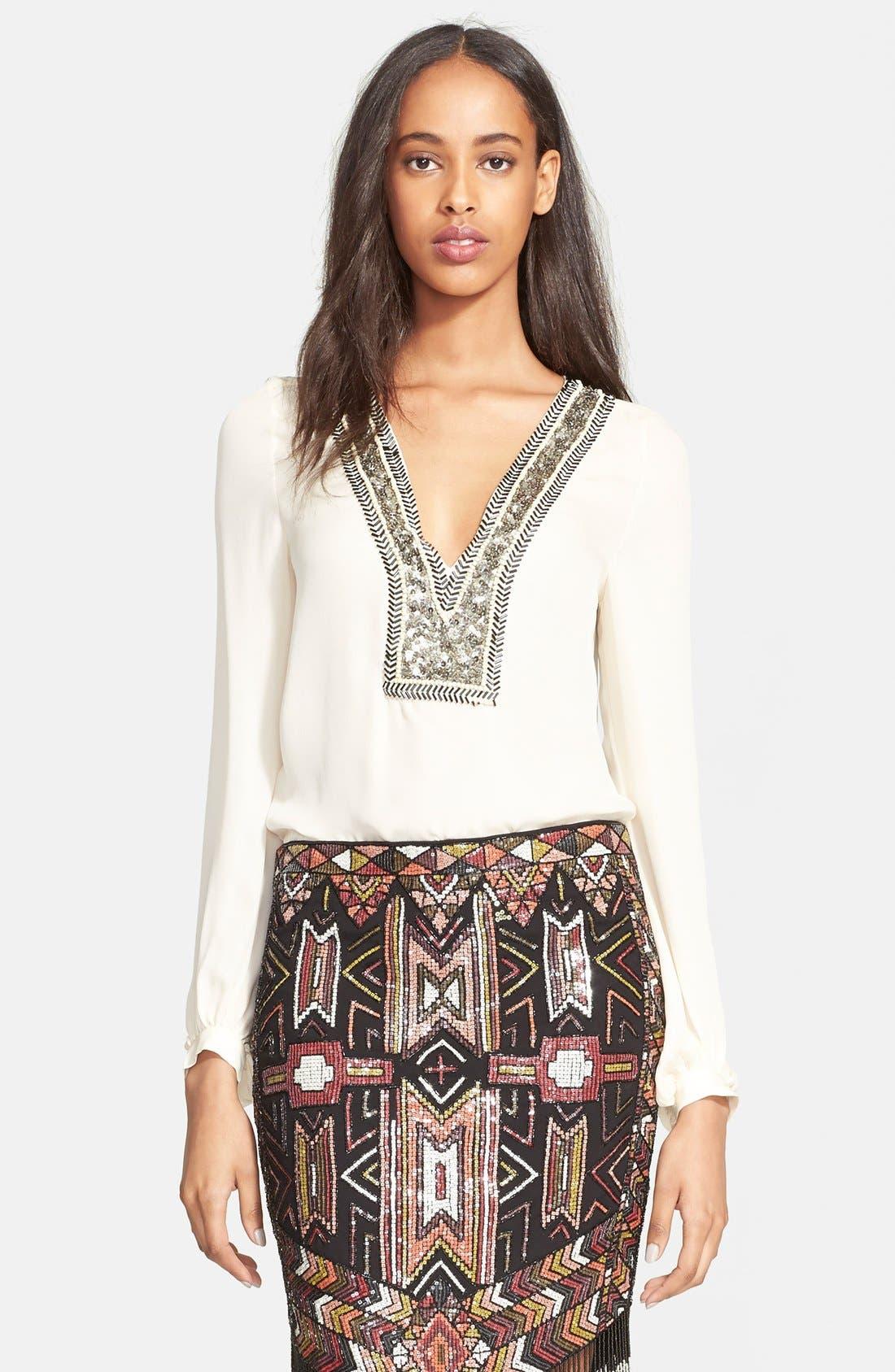 Main Image - Haute Hippie Chevron Embellished V-Neck Silk Blouse